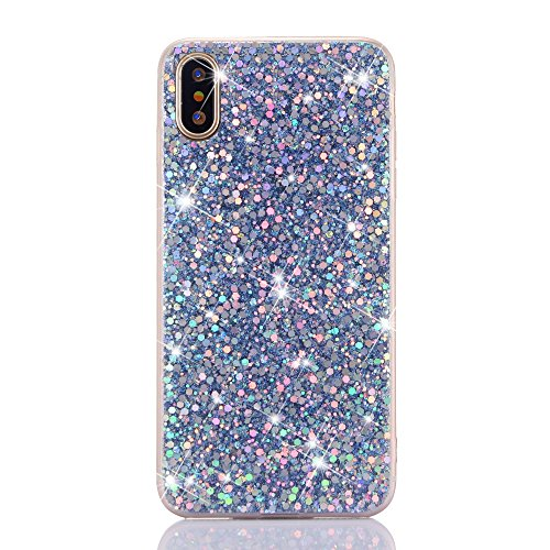 Price comparison product image Jewby iPhone X Case, Soft Bling Glitter Case, Luxury Sparkle Bling Glitter Flexible Soft Case for iPhone X with a Free Screen Protector (Blue)