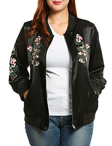 Embroidered Womens Jacket (Meaneor Women's Plus Size Vintage Embroidered Floral Phenix Casual Bomber)