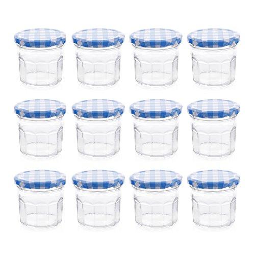 Klean Shop Jam Jars With Lids – Blue Lid Jam Jar Set – Fruit Mason Jar – Glass Jam Canning Jars – DIY 4oz (120ml), 12 Pack Jars- Perfect for Jam Storing, Pickles and Many Other (10 Oz Jelly Jar)