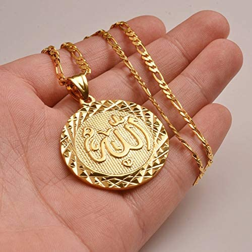 Gold Color Allah Pendant Necklace Chain For Men Middle East Arab Jewelry Women Men Muslim Item Islam Items