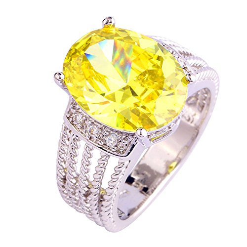 Narica Womens Charming Oval Cut Yellow Sapphire & White Topaz Twisted Band (Golden Yellow Sapphire)