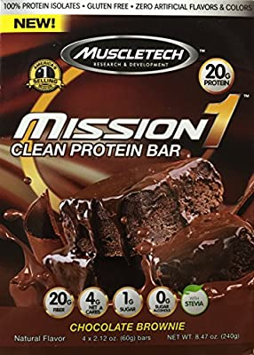Mission1 Clean Protein Bar, Chocolate Brownie, 4 x 2.12 oz bars
