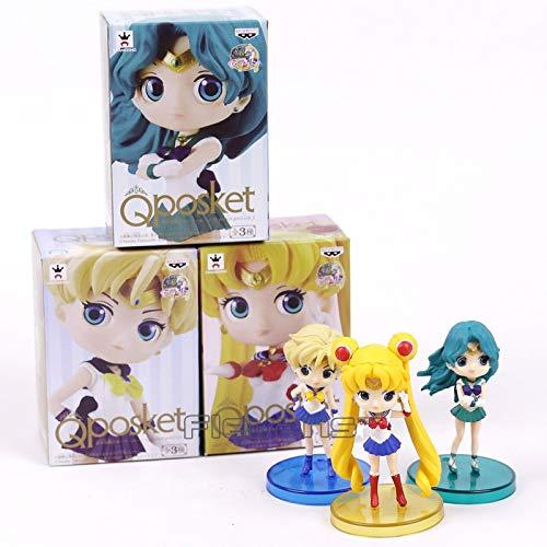 (Flowe Mow Anime Sailor Moon - Tsukino Usagi Sailor Neptune KaiOu Michiru Sailor Uranus Tenoh Haruka PVC Figures - Toys 3pcs/Set 8cm)