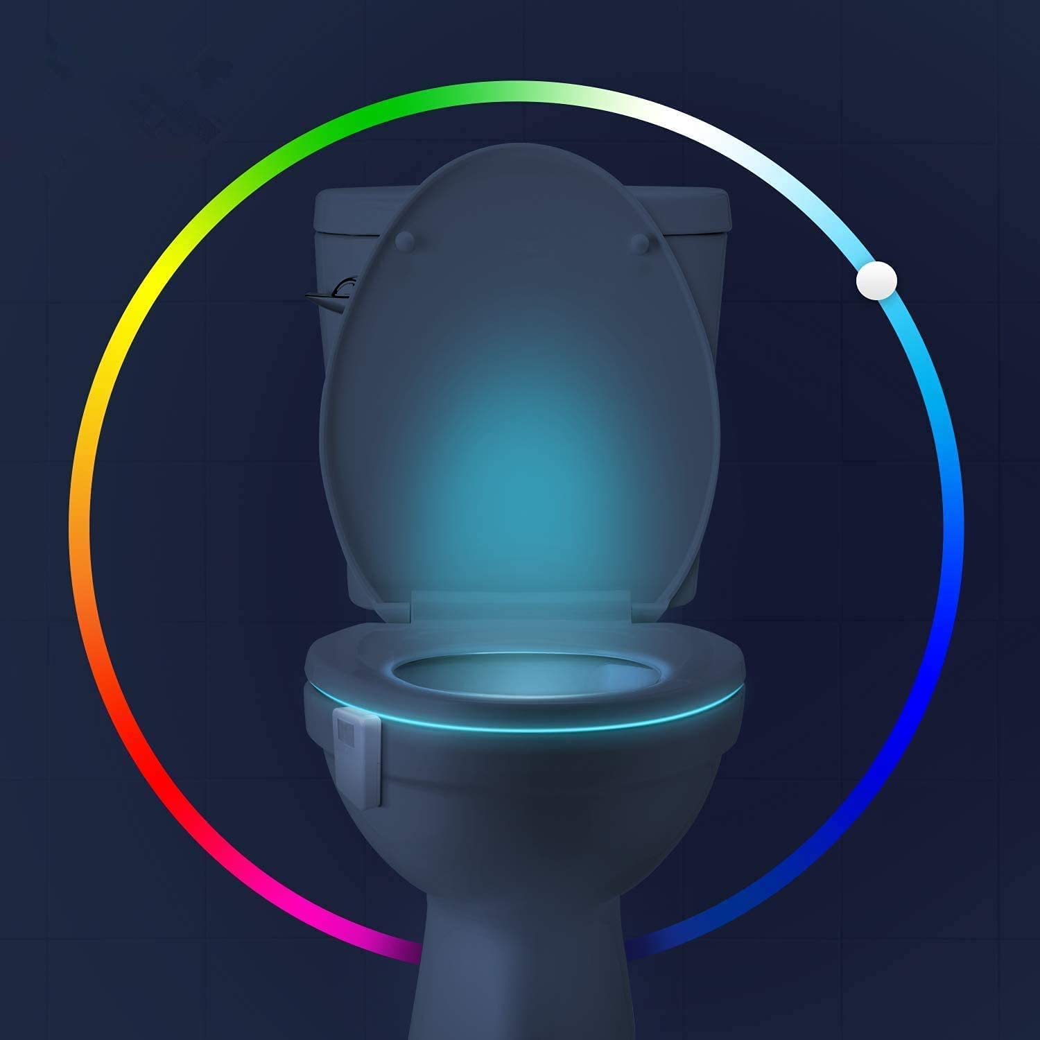Aomofun Toilet Night Light, 16 Color Changing LED Nightlight with Motion Activated Sensor, Funny Bathroom Decorating Gadget for Men Fathers Day - NoveltyGag Stocking Stuffers