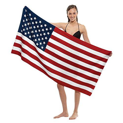 Stock Fiber Reactive Print Beach Towel - US Flag by NobleHomeShop