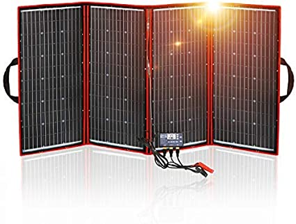 DOKIO Kit Panel Solar Plegable 300W 12V monocristalino portátil, plegable, imermeable,ideal para la energía solar al aire libre, embarcaciones, camping, caravanas o autocaravanas.para batería de 12V