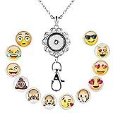 Jesse Ortega Lanyard Office ID Badge Holder Locket Necklace With 12pcs Snap Button Charm (Emoji)
