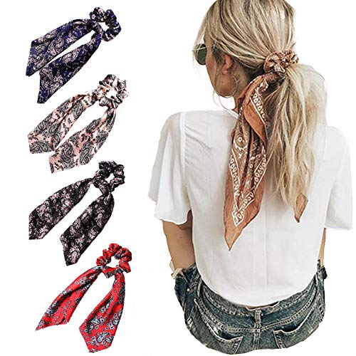 Beauty Wig World 4Pcs Floral Print Scarf Scrunchie Silk Satin Hair Scarves Elastic Hair Bands Bohemian Style Ponytail Holder Ties Vintage Hair Accessories for Women Girls (Best Way To Tie A Scarf)