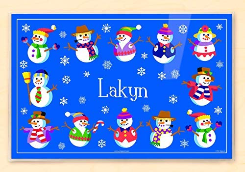 Personalized Christmas Placemats (Olive Kids Personalized Christmas Snowman Placemat, Laminated, 18' x 12
