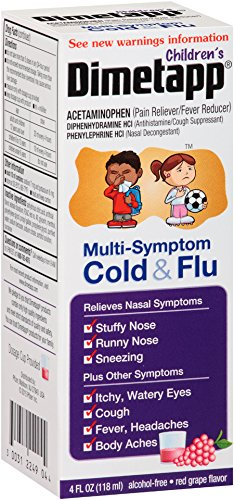 Children's Dimetapp Multi-Symptom Cold & Flu (4 fl. oz., Red Grape Flavor), Decongestant, Pain Reliever & Antihistamine/Cough Suppressant, Alcohol-Free, Ages 6+