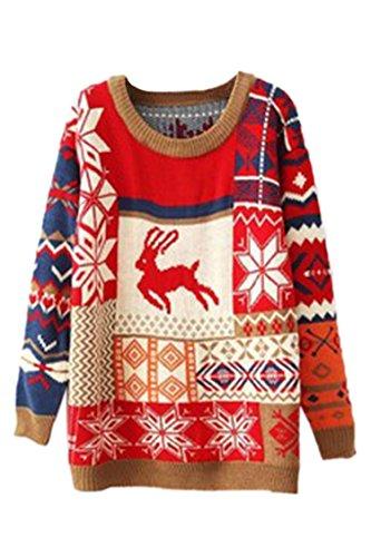 Pink Queen Hot Pullover Snowflake Reindeer Christmas Sweater Sweatshirt Red