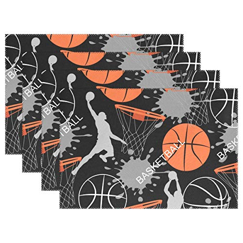 Piece Nba Square 4 - XMCL Basketball Pattern Placemat Heatproof Place Mats Kitchen Dining Table Plate Holder 12