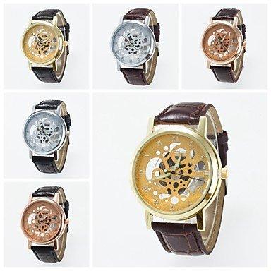 2016 nuevo entrada imitación Alla Moda reloj de pulsera mecánico para los hombres y las mujeres vuoto-fuori Reloj Esfera el tiempo, plateado: Amazon.es: ...