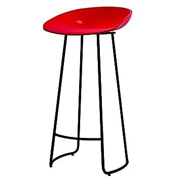 Ljfyxz Tabourets De Bar Bar De La Cuisine Tabouret Haut En Fer Siege Rouge Mobilier De Bar Chaise De Bar Portant Le Poids 150kg Hauteur 65 75cm