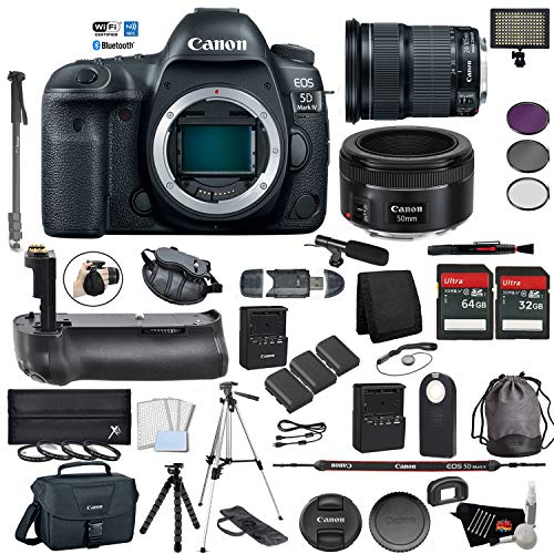 Canon EOS 5D Mark IV Full Frame DSLR Camera Body - Bundle with EF 24-105mm f/3.5-5.6 is STM Lens + EF 50 F 1.8 STM Lens Battery Grip + Microphone + More (International Version)