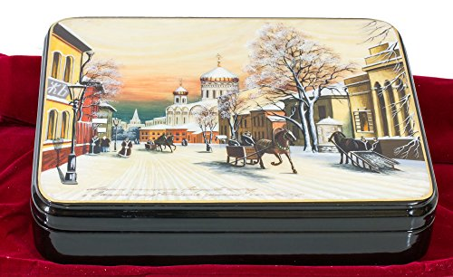 Lacquer Painted Hand Russian (Russian Fedoskino Original Lacquer Box - Hand Painted in Russia - Collectible Art Quality - 10 size&design variations (Big, Design C))
