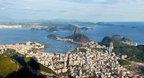 OKSLO High angle view of the city with Sugarloaf Mountain in background Guanabara Bay