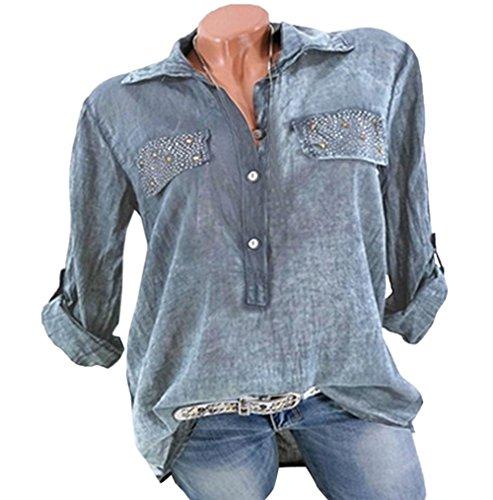 Mode Chemisiers Manches Femmes et Revers Hauts Gris Longues Automne Blouse JackenLOVE Tops Lache Printemps Shirts Tee Casual vwzq44O