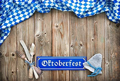 YongFoto 6x4ft Oktoberfest Backdrop Bavarian Flag Tableware Hat Retro Wood Board Photography Background Beer Spree Party Table Banner Kids Adult Portrait Photoshoot Video Studio Props Wallpaper