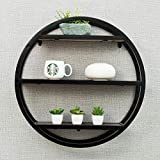 YUEQISONG 3 Layers Solid Wood Round Shelves Decorative Shelf Store Things 601660Cm, Black
