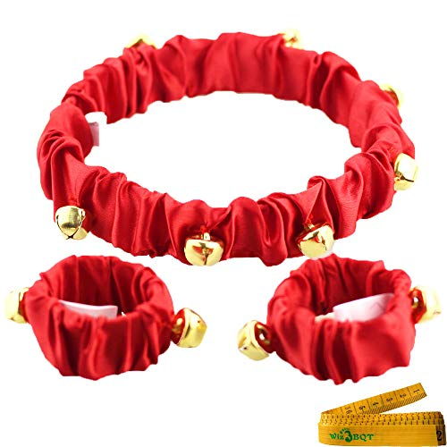 Wiz BBQT Pet Cute Christmas Jingle Bells Decorative Red Collar Ankle Cuffs Set for Cats Dogs (Large)