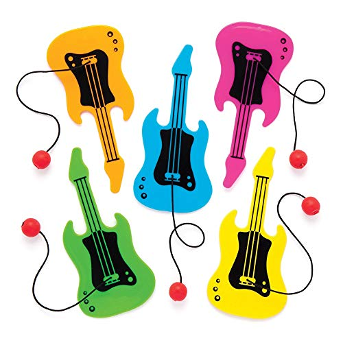 Baker Ross Guitar Plastic Paddle Ball and Bat (Pack of 8) Fun Paddle Ball Game Perfect for Party Favors ()