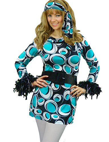 Yummy Bee Womens Mod Hippy 60s 70s Costume Flower Power + Tights Size 12 (Austin Powers Girl Costume)