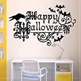 BIBITIME Scary Halloween Wall Stickers Vinyl Home Decor Shop Window Decals Room Art Murals Pub Bar Indoor Scene Setter (Happy Halloween Crow Bats)