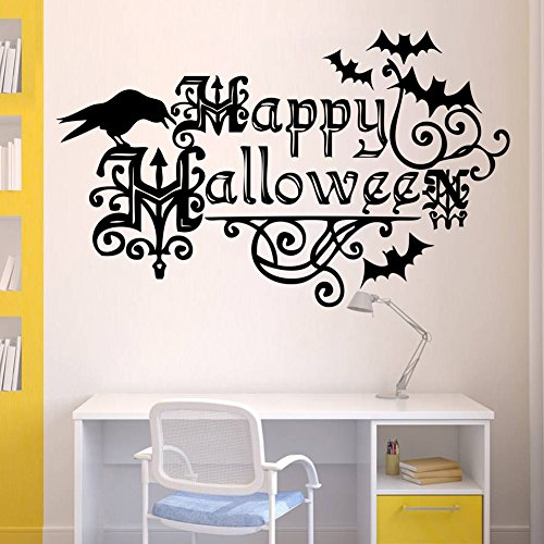 Cheap Halloween Scene Setters (BIBITIME Scary Halloween Wall Stickers Vinyl Home Decor Shop Window Decals Room Art Murals Pub Bar Indoor Scene Setter (Happy Halloween Crow Bats))