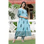 GoSriKi Women's Navy Blue Color Cotton Printed Kurti with Plazzo (Vanita Navy)