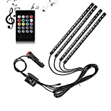 Car LED Strip Light,YaphteS 4pcs 72 LED DC 12V Multi-color Car Interior Music Light LED Underdash Lighting Kit with Sound Active Function and Wireless Remote Control, Car Charger Included