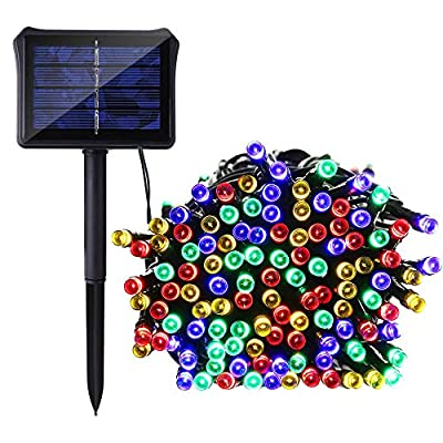 Icicle Solar String Lights / Dual Battery Charge, 72 Ft 8 Modes 200 LED Fairy Waterproof Outside Lighting for Christmas, Halloween, Camping, Garden, Patio, Backyard, Fence and Holiday Decorations