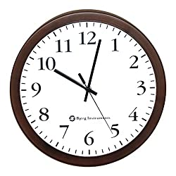 Bjerg Instruments Modern 12 Steel Enclosure Silent Wall Clock with Non Ticking Movement (Bronze)