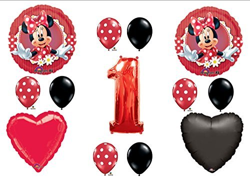 Mad About Minnie Mouse 1st First Birthday Party Balloons Decorations - 1st Birthday Party Balloon