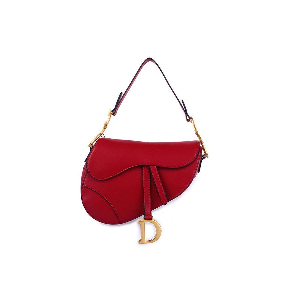 Bolso de Cuero para Mujer, 2018 Retro D Word Saddle Bag Hombro Paquete Messenger Bag (Color : Azul) HWX