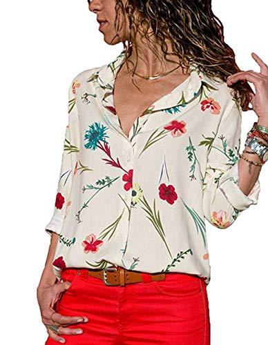 Chemise Femme Tops Shirts Boutons Floral Imprim Vintage Nou sur Blanc t Chic T Devant Blouse ASSKDAN wqIxAYdRR