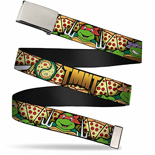 Buckle-Down Big Web Belt Ninja Turtles, Classic Tmnt Turtle Poses/Pizza Slices, 1.0