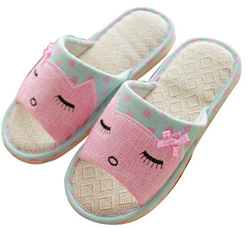 Blubi Womens Summer Cat Linen Skid-proof House Slippers Blue JfD9POXoDQ