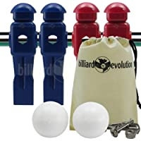 Billiard Evolution 4 Red and Blue Dynamo Foosball Men and 2 Smooth Balls with Free Screws and Nuts