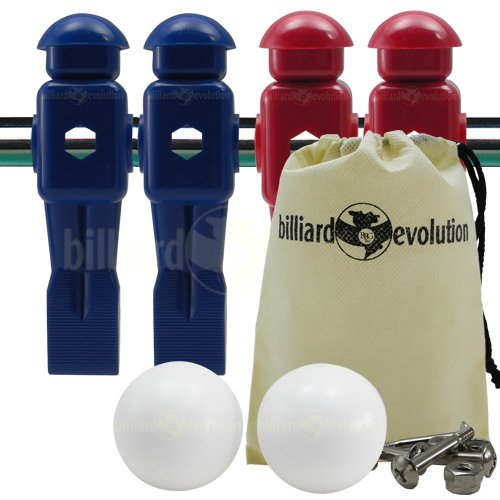 4 Red and Blue Dynamo Foosball Men and 2 Smooth Balls with Free Screws and Nuts Billiard Evolution