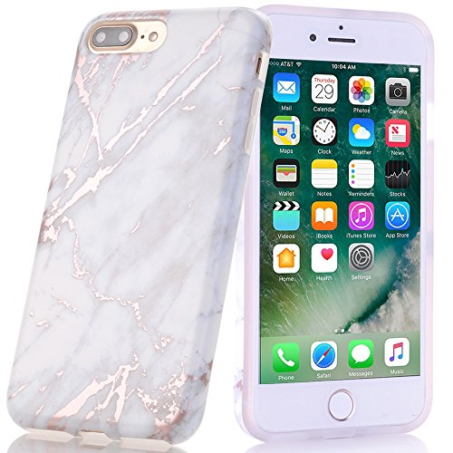 BAISRKE Shiny Rose Gold Marble Design Clear Bumper Matte TPU Soft Rubber Silicone Cover Phone Case Compatible with iPhone 7 Plus iPhone 8 Plus Light Grey