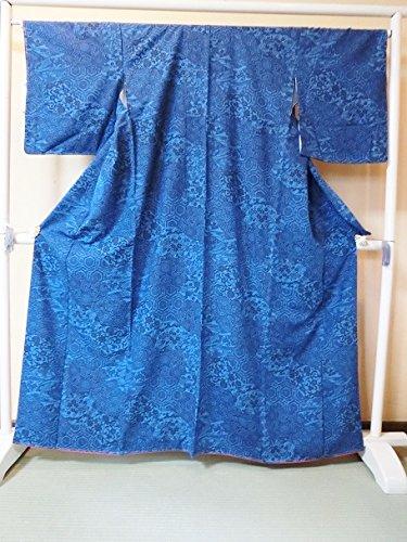 ショッピングセンターブルーベル物思いにふける(ノーブランド品)4507 【新品】 あわせ着物 小紋 正絹紬 藍染 藍色地に切りばね模様 しつけ付き ランクA