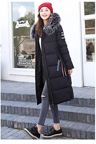 Ragazza Chic Mantello Calda Moda Cerniera Donna Schwarz Fashion Cappuccio Giubotto Con Laterali Tasche Giovane Hx Casual Invernali Cappotti Lunga Manica Piumini Monocromo RUOS7