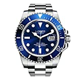 LOREO Mens GMT Silver Stainless Steel Sapphire Glass Blue Rotating bezel Men's Automatic Watch