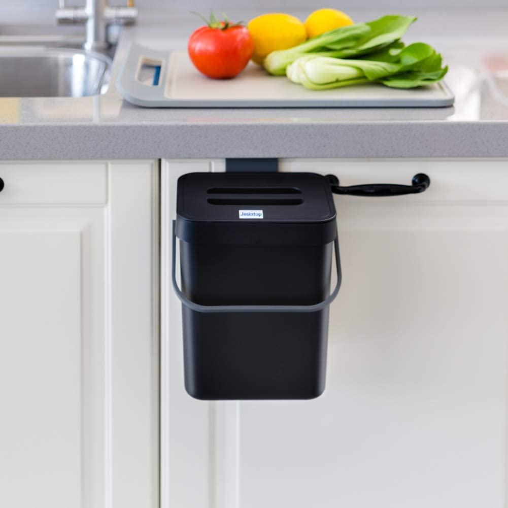 Jesintop Compost Bin for Kitchen Counter or Under Sink, Small Trash Can with Lid,1.3 Gallon Hanging Waste Bucket, Mountable Plastic Garbage Can Black