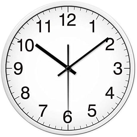 Amazon.com: Jedfild - Reloj de pared silencioso con diseño de dibujo de  hotel o aula, 12.0 in, caja de color blanco y negro: Home & Kitchen
