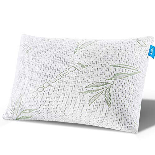 Noffa Pillow for Sleeping, Shredded Memory Foam Pillow, Premium Bamboo Bed Pillow, Neck Pain Relief Pillow for Side Back Stomach Sleepers- Washable Cover -Queen Size
