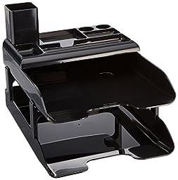 Deflecto 583004 Corporate Desk Trays, Metallic Black, 2 Trays, Organizer & Pencil Cup/Set