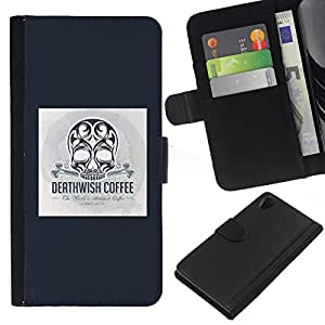 ZCell / Sony Xperia Z2 D6502 / Black Coffee Death Skull Poster Blue / Caso Shell Armor Funda Case Cover Wallet / Negro Café muerte cr&aacu