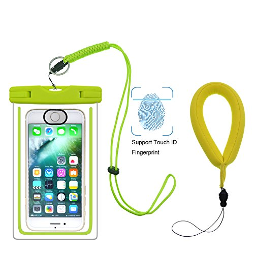 UPhitnis Waterproof Case, ID Fingerprint Supported Universal Waterproof Bag Pouch Touch Dry Bag with Floating Wrist Strap for iPhone 7/7 plus/6s/6/6 plus/5/5s/5 and other up to - Lanyards Floating Wrist